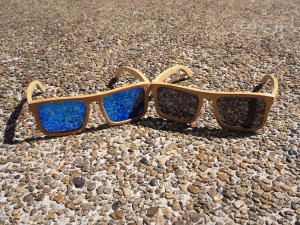 Bamboo Sunglasses with Cork Inlay - Polarized | Flex Fit
