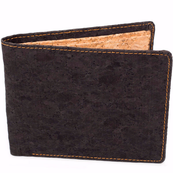 cork black bifold wallet