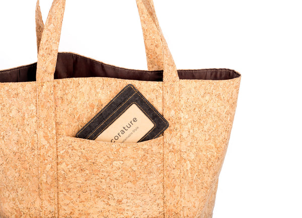 corature cork tote back pocket