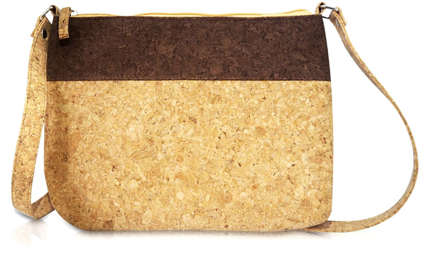 Corature Cork Large Two-Tone Crossbody Bag - Cynthia
