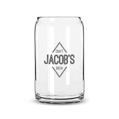Can Shaped Glass Personalized - Diamond Emblem Printing