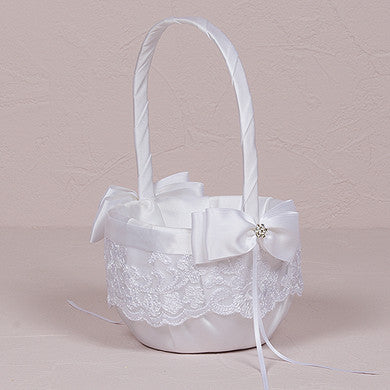 Beverly Clark French Lace Collection Flower Girl Basket - LoveStruck Weddings