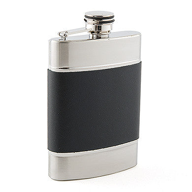 Brushed Stainless And Black Leather Hip Flask - LoveStruck Weddings