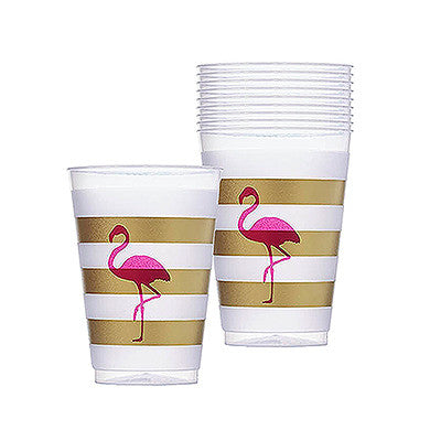 Pink Flamingo Frosted Plastic Tumblers - set of 10
