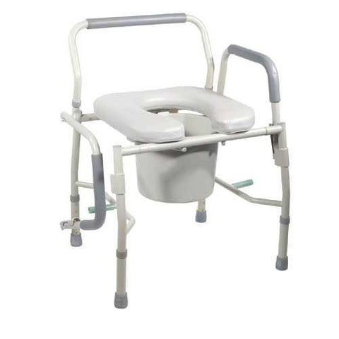 Drop-Arm Commode with Padded Open-Front Seat - Budget Medical Supplies