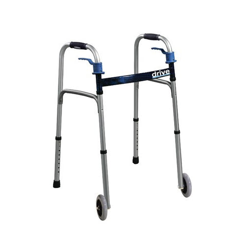 "Folding Walker with Trigger Release and 5"" Wheels - Budget Medical Supplies"