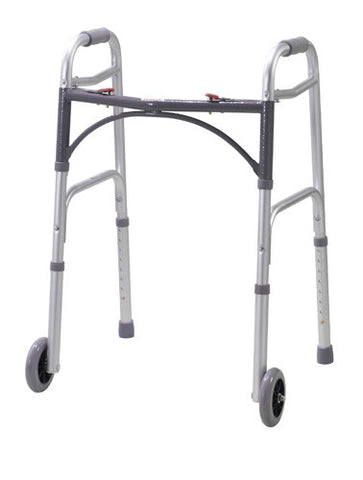 "Youth Easy-Release 2 Button Folding Walker with 5"" Wheels - Budget Medical Supplies"