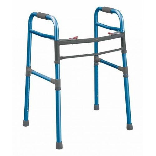 Blue Universal 2 Button Folding Walker - Budget Medical Supplies