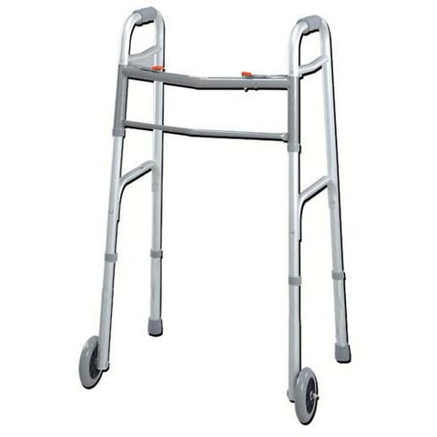 "Youth Easy-Release 2 Button Folding Walker with 3"" Wheels - Budget Medical Supplies"