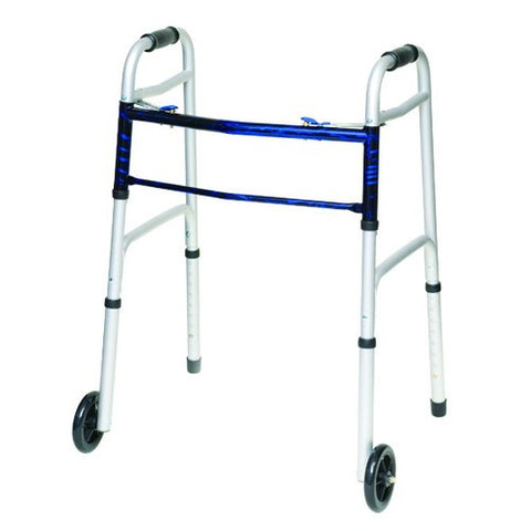 "Adult ProBasic Folding Walker with 5"" Wheels - Budget Medical Supplies"