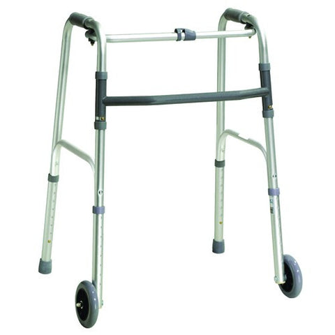 "Folding Adult One-Button Walker with 5"" Wheels - Budget Medical Supplies"