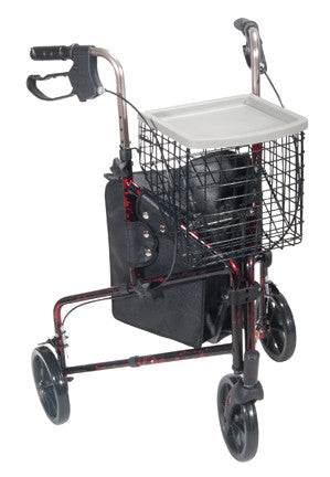 3 Wheel Rollator with Pouch, Basket & Loop Brake - Budget Medical Supplies