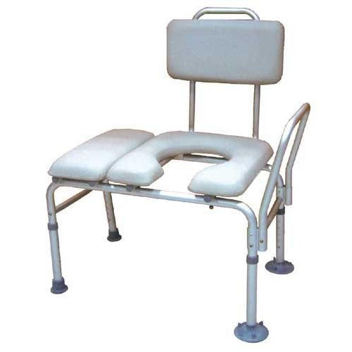 Transfer Bench & Commode Combination with Padded Seat - Budget Medical Supplies