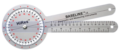 Baseline Plastic Goniometer - HiRes 360 Degree Head - Budget Medical Supplies