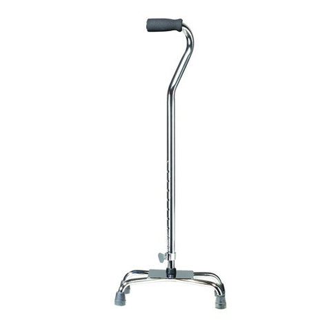 Large Base Chrome Quad Cane with Vinyl Grip - Budget Medical Supplies