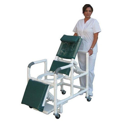 Reclining Open Shower Chair with Elongated Front and ELR - PVC - Budget Medical Supplies