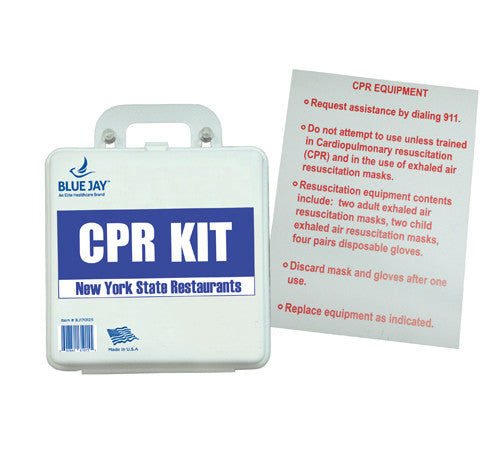 NY Restaurant CPR First Aid Kit with Poster - Budget Medical Supplies