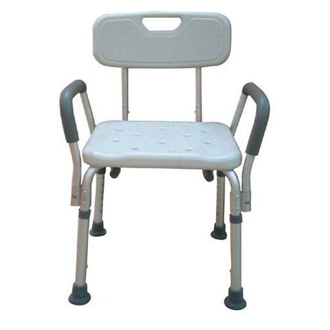 Adjustable Height Bath Bench with Back & Padded Arms - Budget Medical Supplies