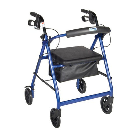 Aluminum Rollator with Fold-Up Removable Back Support & Padded Seat - Budget Medical Supplies