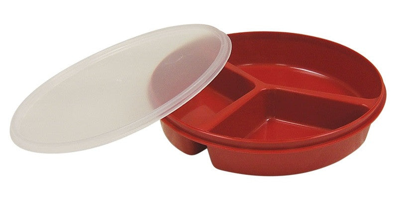 Redware Tableware Partitioned Scoop Dish with Lid - Budget Medical Supplies