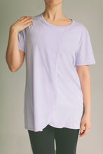 Model wearing the bamboo cotton Breastfeeding Sleep Shirt in lilac
