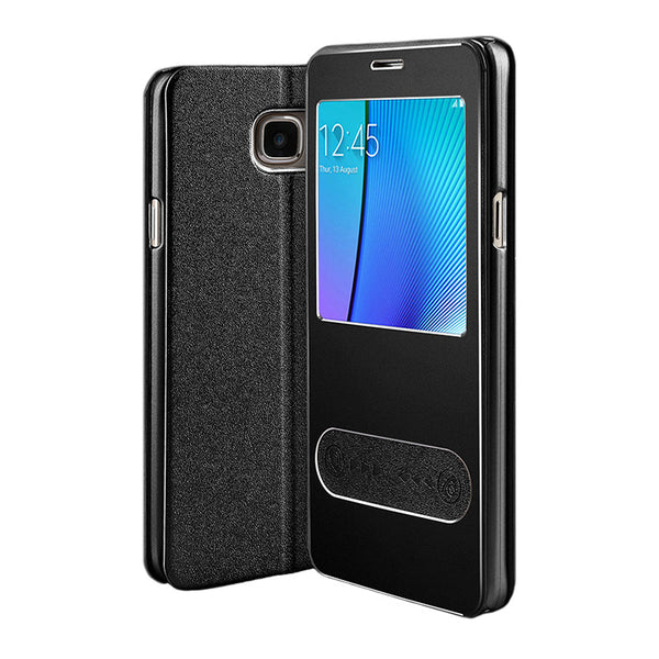 Samsung Galaxy Note 5 Leather Flip Cover (Distiguished Black)
