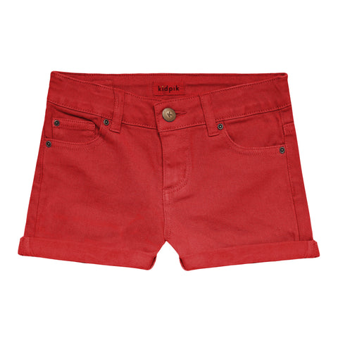 5 Pocket Cuffed Colored Short - True Red