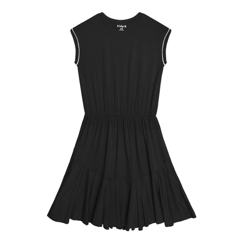 Piped Sleeve Dress - Black