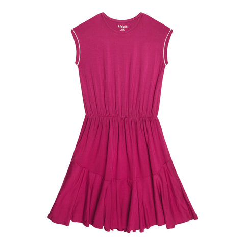 Piped Sleeve Dress - Pink Peacock