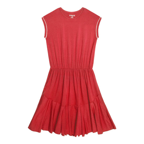 Piped Sleeve Dress - Hibiscus