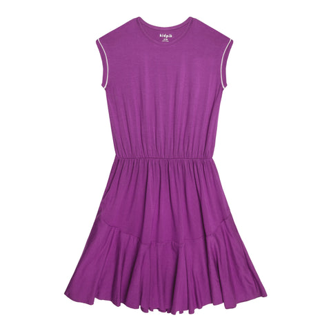 Piped Sleeve Dress - Striking Purple