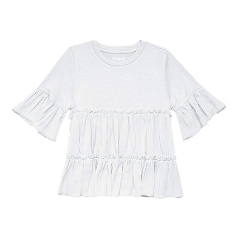 Tiered Ruffle Top - White