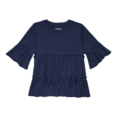 Tiered Ruffle Top - Kidpik Navy