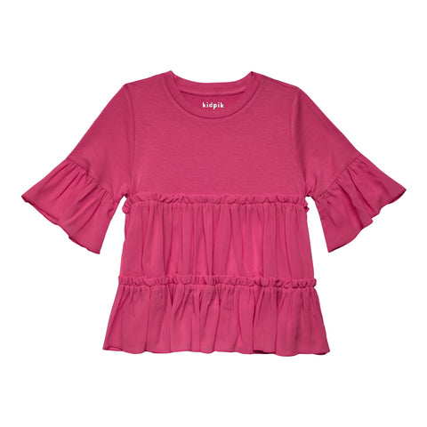 Tiered Ruffle Top - Pink Peacock