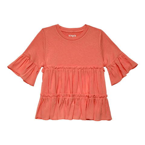 Tiered Ruffle Top - Calypso Coral