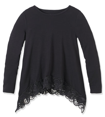 Lace Trim Swing Top - Black