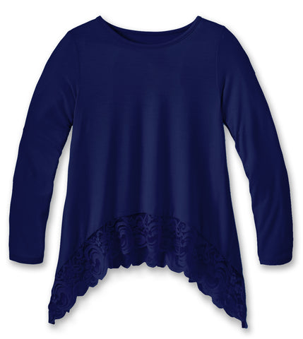 Lace Trim Swing Top - Blue Ribbon