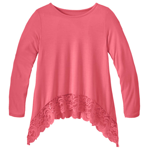 Lace Trim Swing Top - Camellia Rose