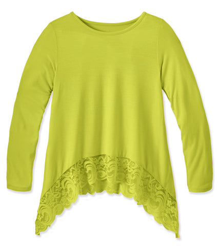 Lace Trim Swing Top - Limeade