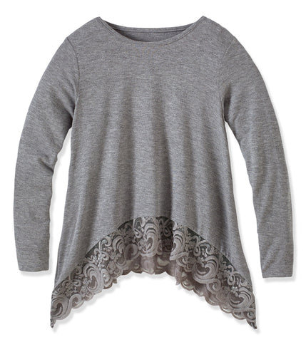 Lace Trim Swing Top - Medium Heather Grey