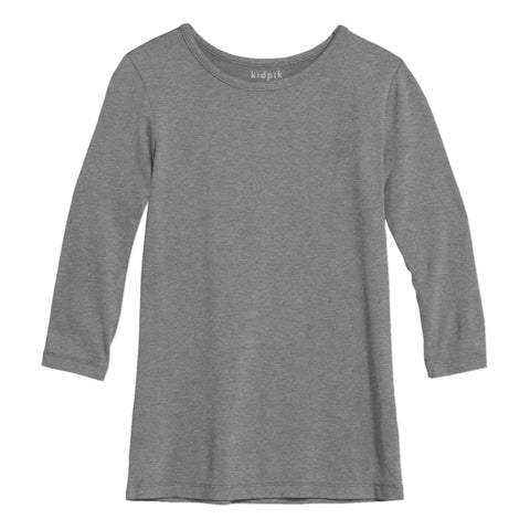Essential 3/4 Layering Tee - Medium Heather Grey