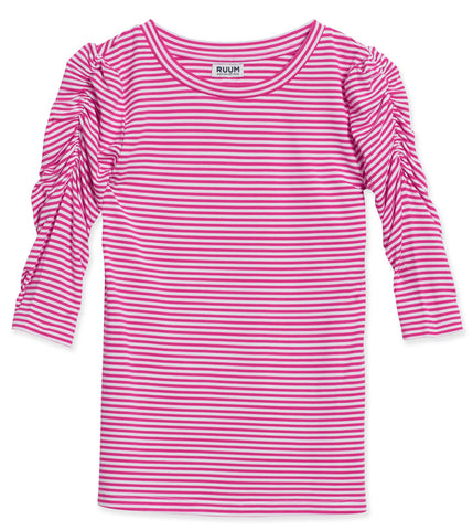 Stripe Rouched Tee - Beetroot Purple