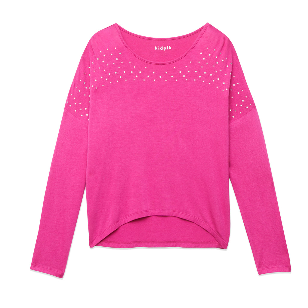 Rhinestone Dolman Tee - Beetroot Purple