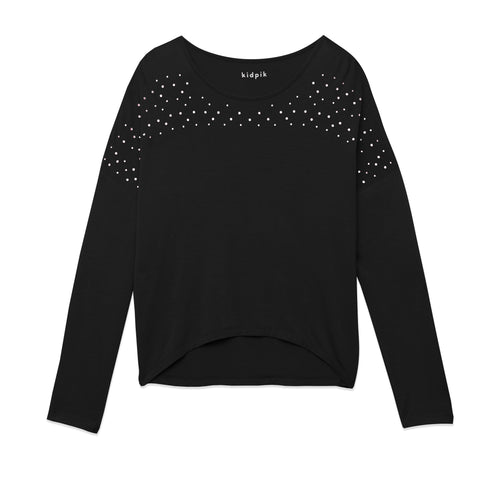 Rhinestone Dolman Top - Black