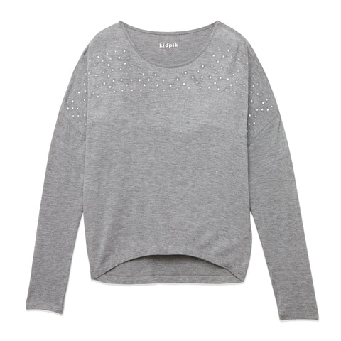 Rhinestone Dolman Top - Medium Heather Grey