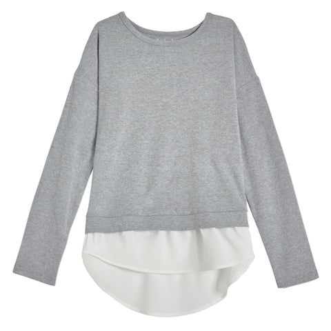 Cozy Chiffon Layered Top - Medium Heather Grey