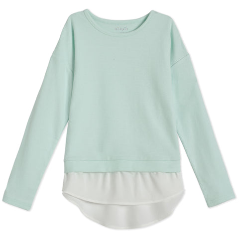 Cozy Chiffon Layered Top - Dusty Aqua