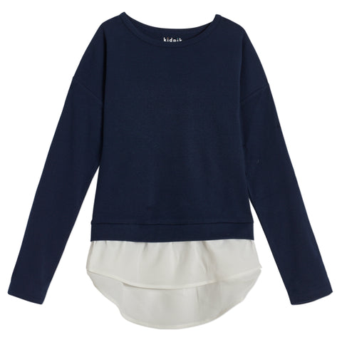 Cozy Chiffon Layered Top - Kidpik Navy