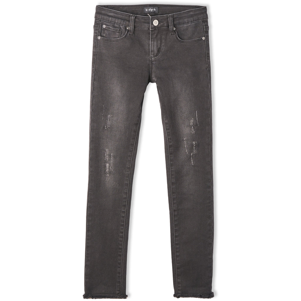 Denim released hem skinny jean - Stormy Wash