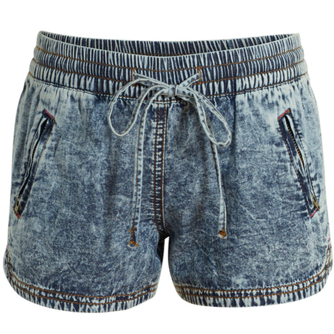 Pull On Denim Sport Short - Stardust Wash